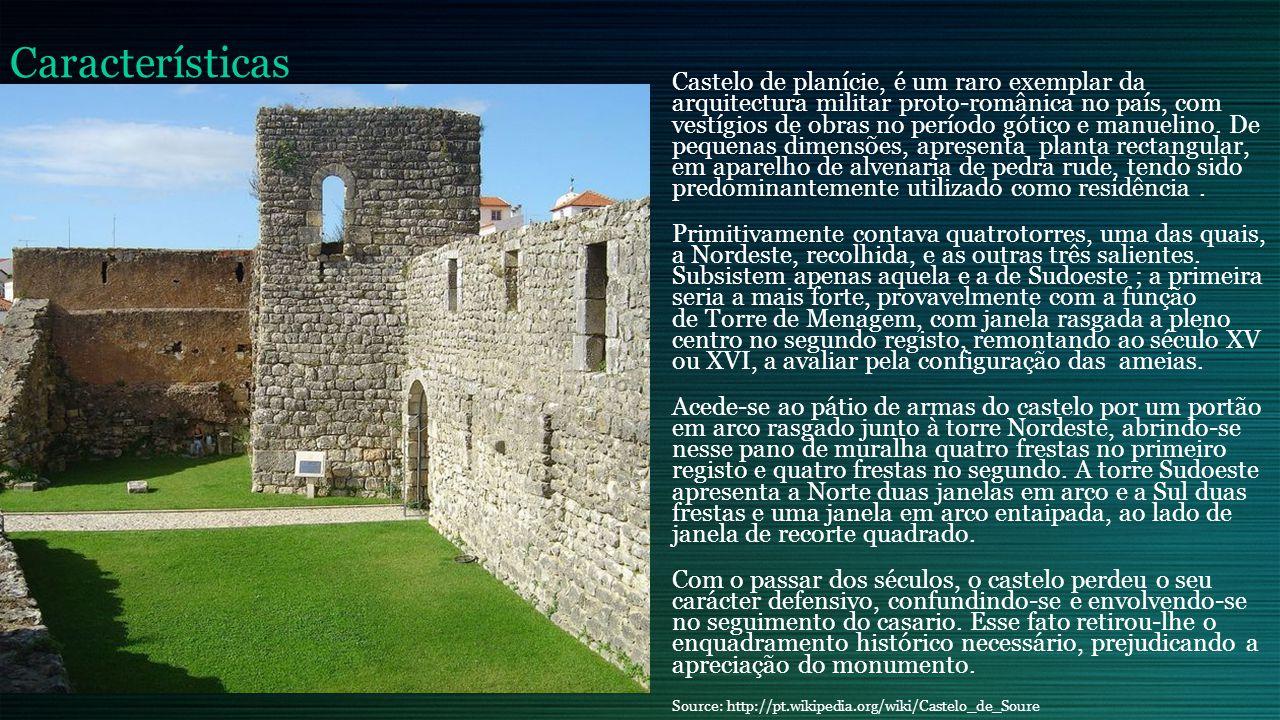 Castelo de planície, é um raro exemplar da arquitectura militar proto-românica no país, com vestígios de obras no período gótico e manuelino.