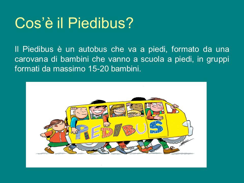 Cosè il Piedibus? Il Piedibus è un autobus che va a piedi, formato da una carovana di bambini che vanno a scuola a piedi, in gruppi formati da massimo