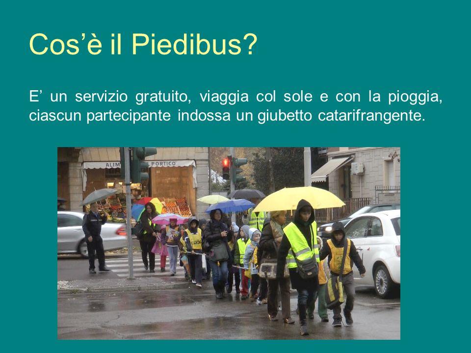 Cosè il Piedibus? E un servizio gratuito, viaggia col sole e con la pioggia, ciascun partecipante indossa un giubetto catarifrangente.