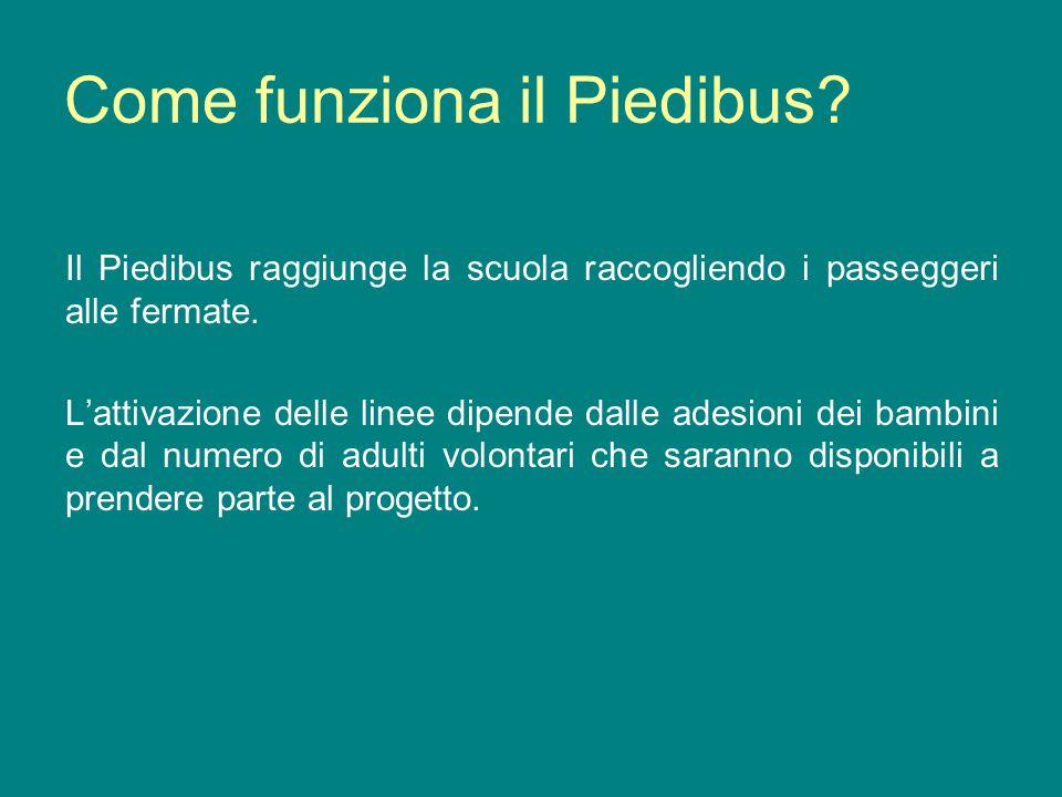 Come funziona il Piedibus? Il Piedibus raggiunge la scuola raccogliendo i passeggeri alle fermate. Lattivazione delle linee dipende dalle adesioni dei