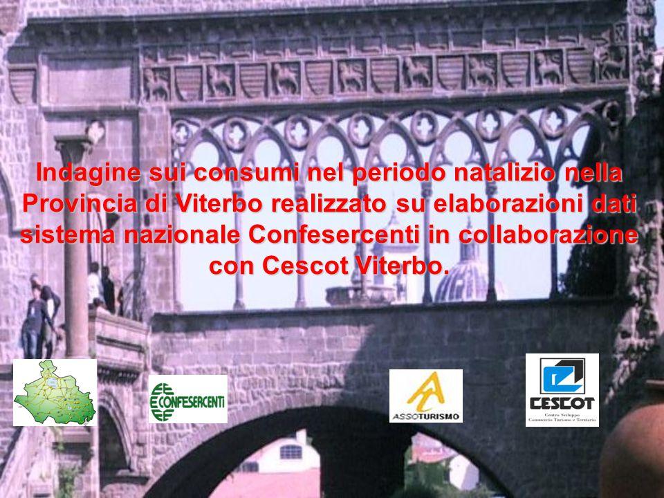 Indagine sui consumi nel periodo natalizio nella Provincia di Viterbo realizzato su elaborazioni dati sistema nazionale Confesercenti in collaborazione con Cescot Viterbo.