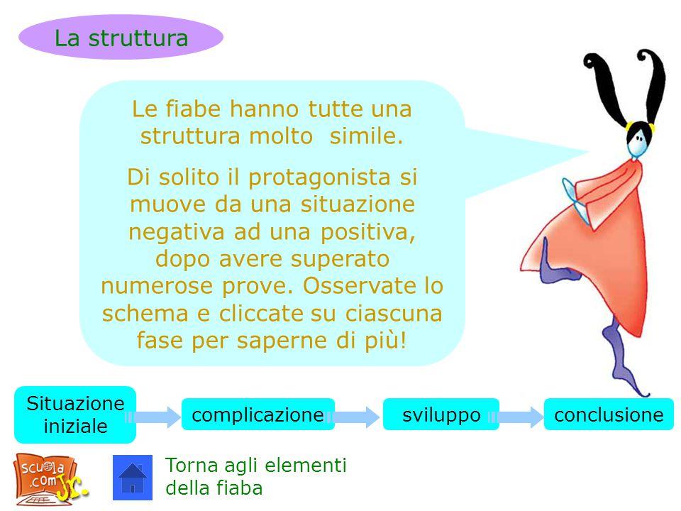 Le fiabe hanno tutte una struttura molto simile. Di solito il protagonista si muove da una situazione negativa ad una positiva, dopo avere superato nu