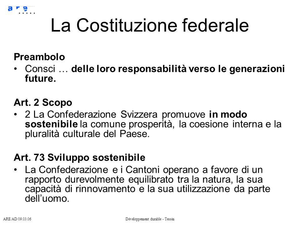 ARE/AD/09.03.06Développement durable - Tessin La Costituzione federale Preambolo Consci … delle loro responsabilità verso le generazioni future.