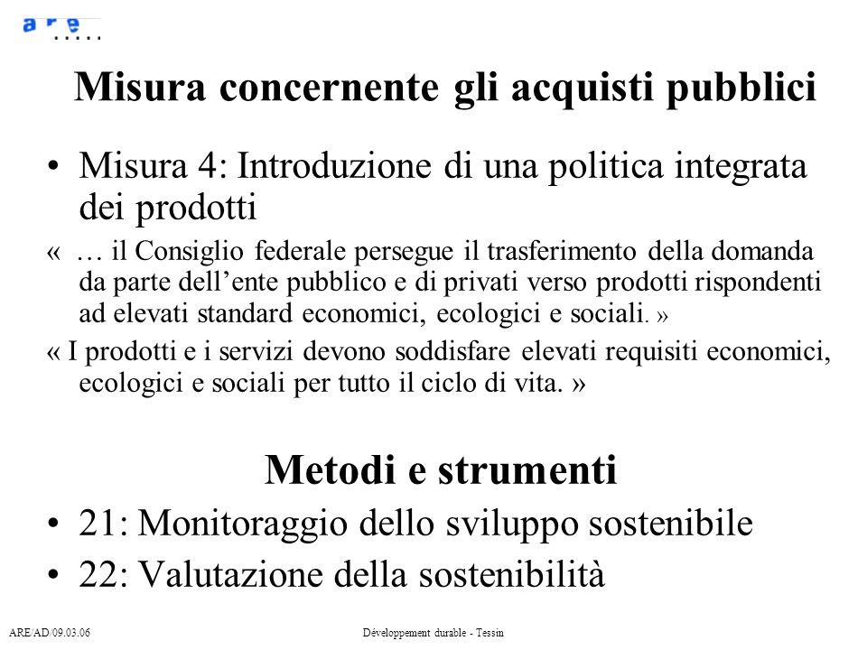 ARE/AD/09.03.06Développement durable - Tessin Obiettivi Definizione sviluppo sostenibile Def.