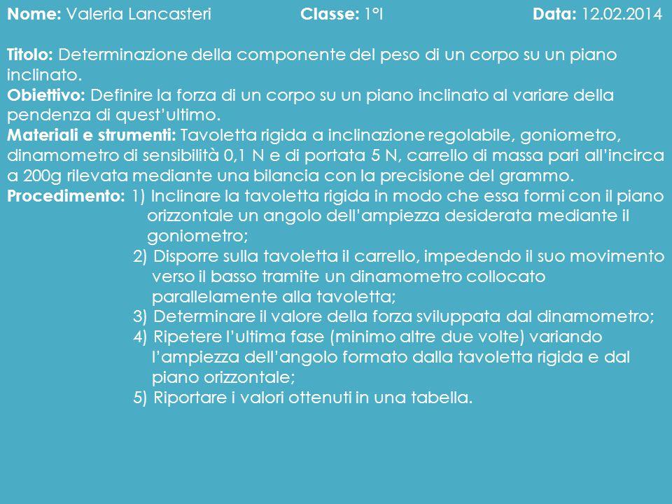 Nome: Valeria Lancasteri Classe: 1°I Data: 12.02.2014 Titolo: Determinazione della componente del peso di un corpo su un piano inclinato. Obiettivo: D