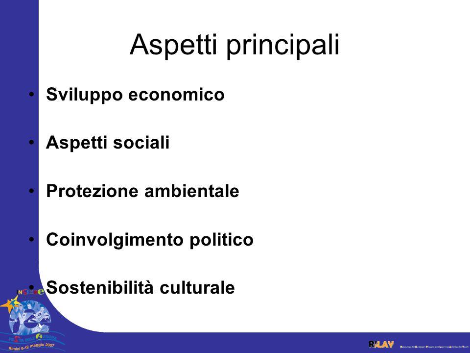 Aspetti principali Sviluppo economico Aspetti sociali Protezione ambientale Coinvolgimento politico Sostenibilità culturale
