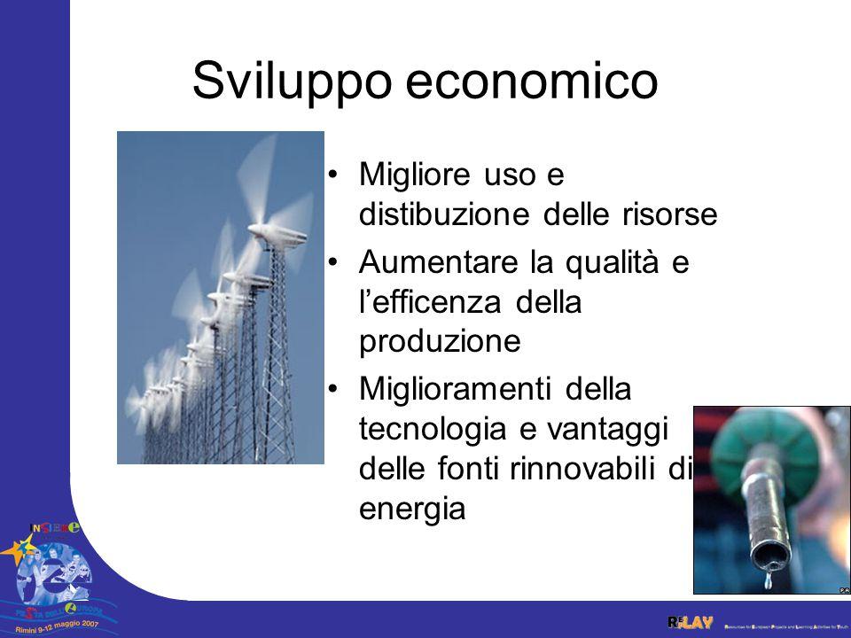 Sviluppo economico Migliore uso e distibuzione delle risorse Aumentare la qualità e lefficenza della produzione Miglioramenti della tecnologia e vantaggi delle fonti rinnovabili di energia