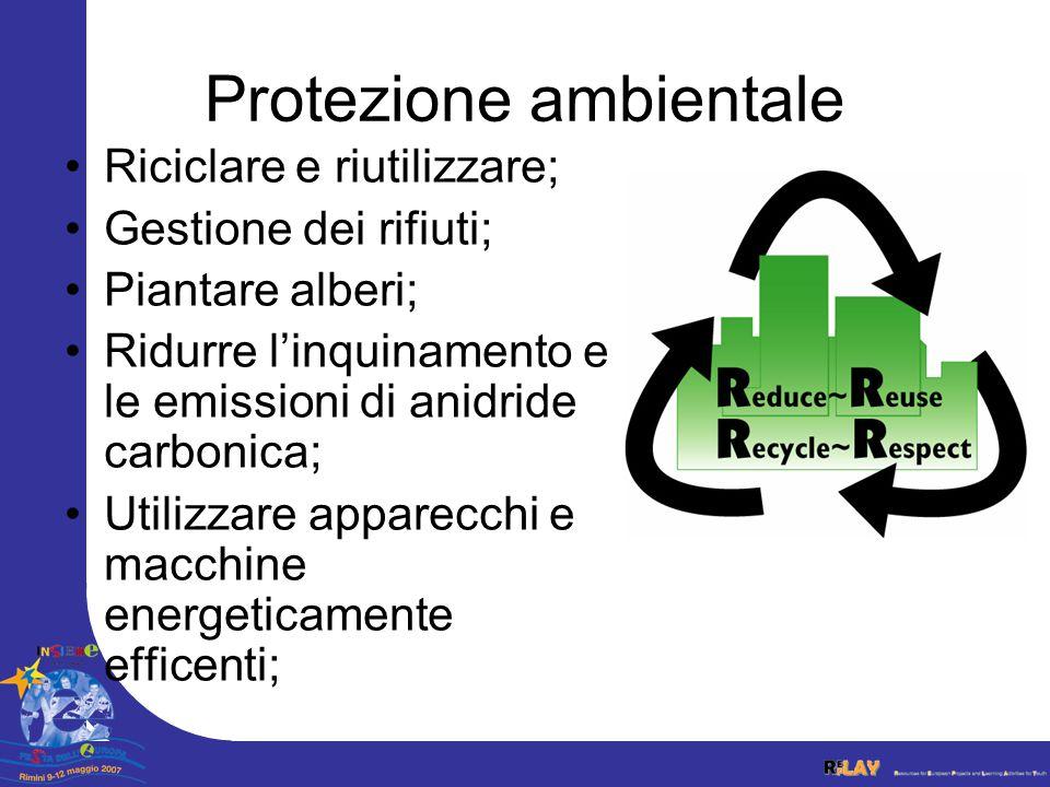 Protezione ambientale Riciclare e riutilizzare; Gestione dei rifiuti; Piantare alberi; Ridurre linquinamento e le emissioni di anidride carbonica; Utilizzare apparecchi e macchine energeticamente efficenti;