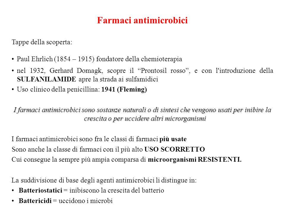 Farmaci antimicrobici Tappe della scoperta: Paul Ehrlich (1854 – 1915) fondatore della chemioterapia nel 1932, Gerhard Domagk, scopre il Prontosil ros