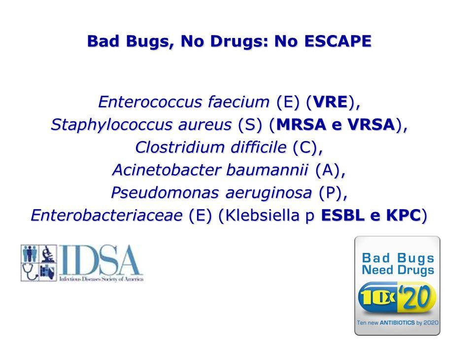 Bad Bugs, No Drugs: No ESCAPE Enterococcus faecium (E) (VRE), Staphylococcus aureus (S) (MRSA e VRSA), Clostridium difficile (C), Acinetobacter bauman