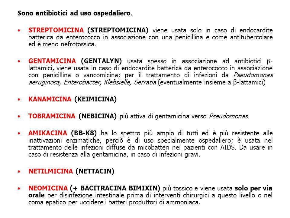 Sono antibiotici ad uso ospedaliero. STREPTOMICINA (STREPTOMICINA) viene usata solo in caso di endocardite batterica da enterococco in associazione co