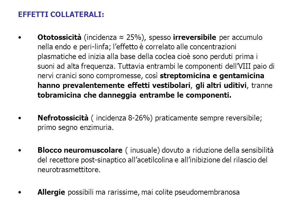 EFFETTI COLLATERALI: Ototossicità (incidenza 25%), spesso irreversibile per accumulo nella endo e peri-linfa; leffetto è correlato alle concentrazioni