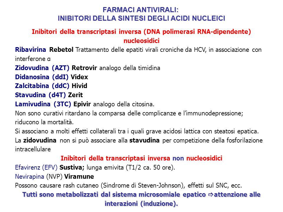 Inibitori della transcriptasi inversa (DNA polimerasi RNA-dipendente) nucleosidici Ribavirina Rebetol Trattamento delle epatiti virali croniche da HCV