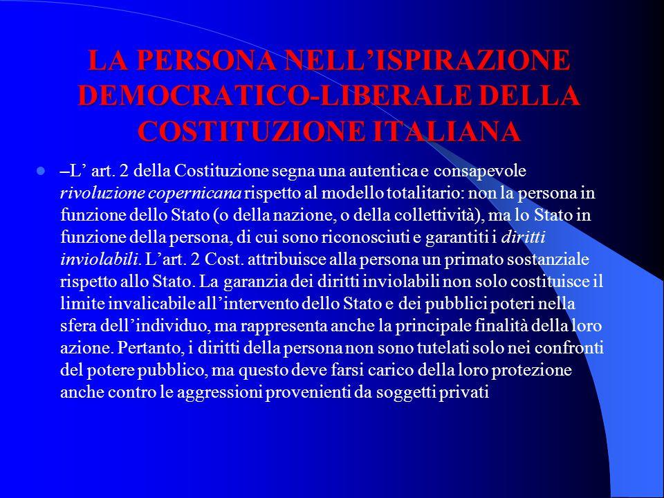 LA PERSONA NELLISPIRAZIONE DEMOCRATICO-LIBERALE DELLA COSTITUZIONE ITALIANA –L art. 2 della Costituzione segna una autentica e consapevole rivoluzione