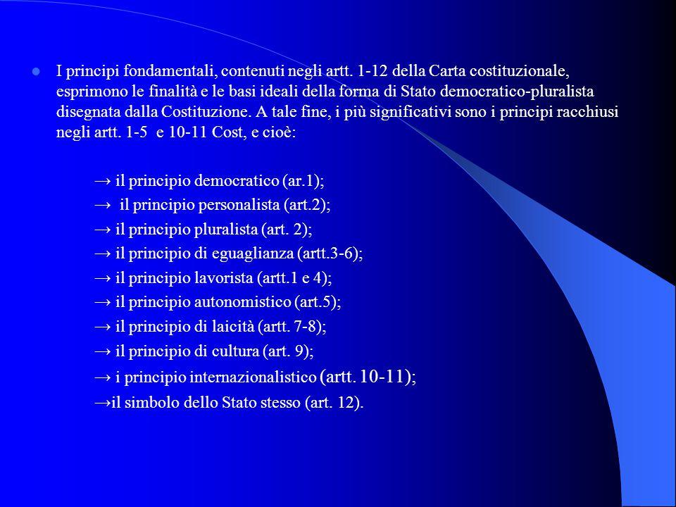 I principi fondamentali, contenuti negli artt. 1-12 della Carta costituzionale, esprimono le finalità e le basi ideali della forma di Stato democratic