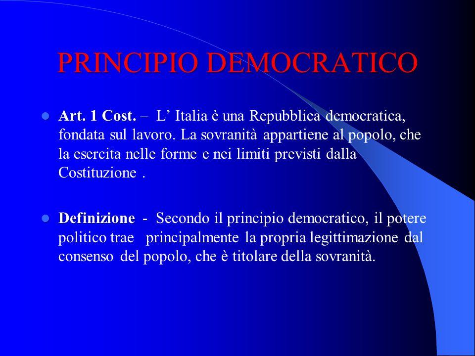 PRINCIPIO DEMOCRATICO Art. 1 Cost. Art. 1 Cost. – L Italia è una Repubblica democratica, fondata sul lavoro. La sovranità appartiene al popolo, che la