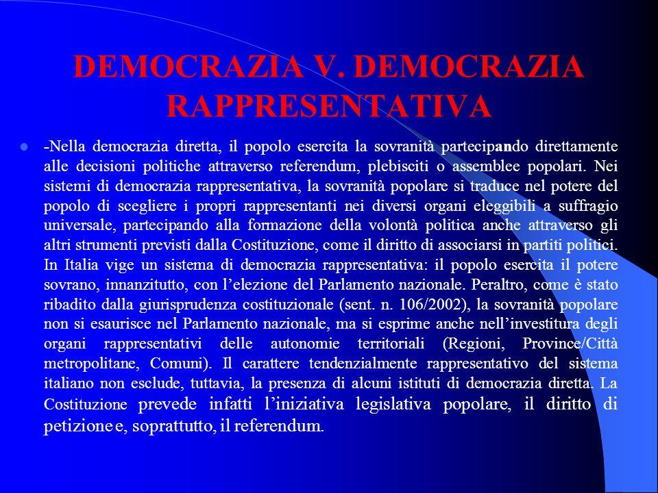 DEMOCRAZIA V. DEMOCRAZIA RAPPRESENTATIVA -Nella democrazia diretta, il popolo esercita la sovranità partecipando direttamente alle decisioni politiche