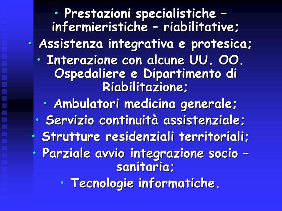 Prestazioni specialistiche – infermieristiche – riabilitative;Prestazioni specialistiche – infermieristiche – riabilitative; Assistenza integrativa e protesica;Assistenza integrativa e protesica; Interazione con alcune UU.