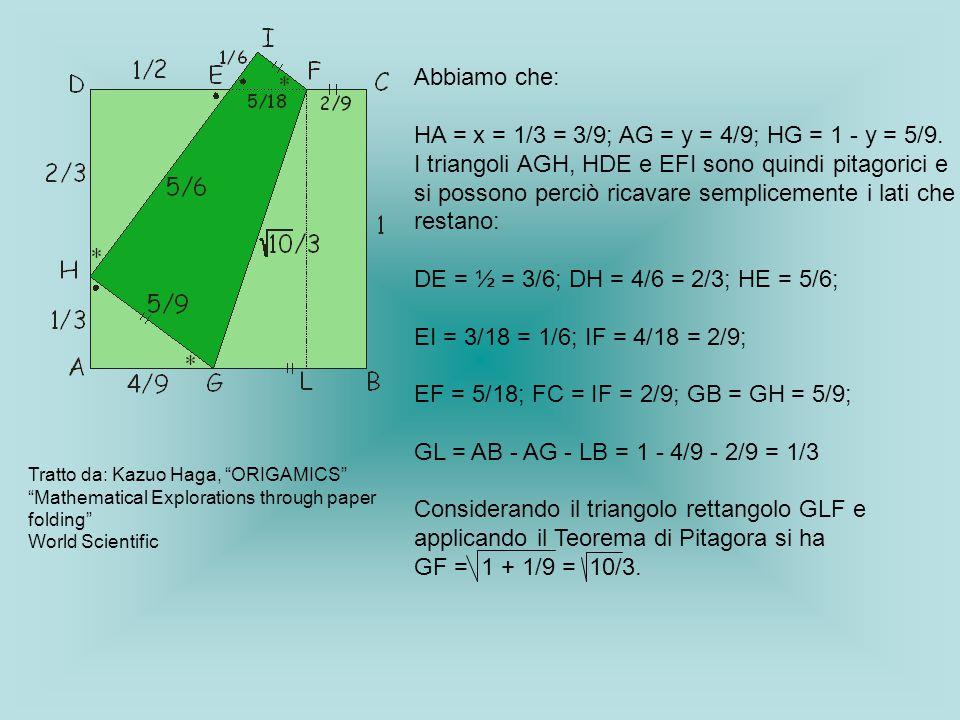 Abbiamo che: HA = x = 1/3 = 3/9; AG = y = 4/9; HG = 1 - y = 5/9. I triangoli AGH, HDE e EFI sono quindi pitagorici e si possono perciò ricavare sempli