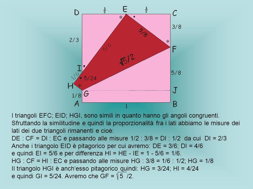 I triangoli EFC; EID; HGI, sono simili in quanto hanno gli angoli congruenti. Sfruttando la similitudine e quindi la proporzionalità fra i lati abbiam