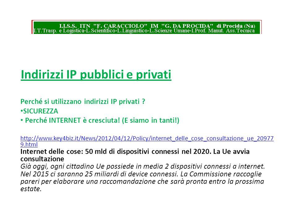 Indirizzi IP pubblici e privati Perché si utilizzano indirizzi IP privati ? SICUREZZA Perché INTERNET è cresciuta! (E siamo in tanti!) http://www.key4