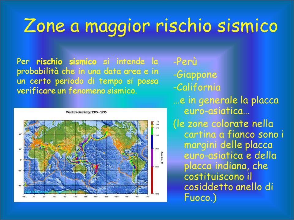 Zone a maggior rischio sismico -Perù -Giappone -California …e in generale la placca euro-asiatica… (le zone colorate nella cartina a fianco sono i mar