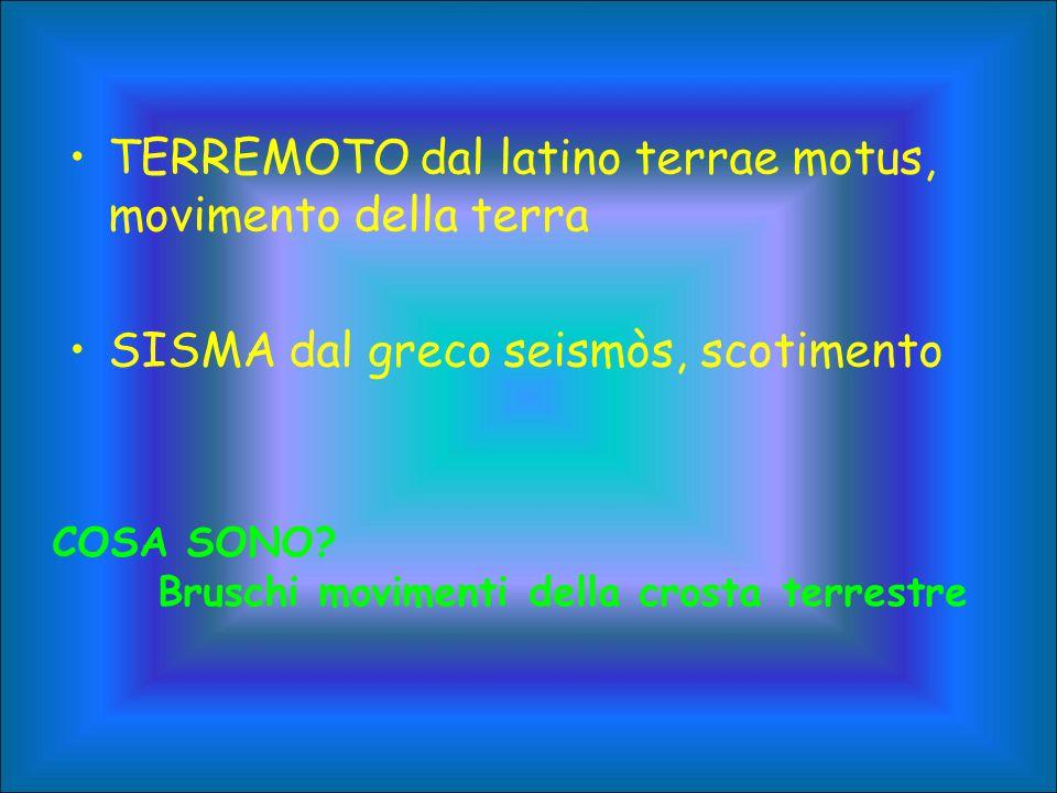 TERREMOTO dal latino terrae motus, movimento della terra SISMA dal greco seismòs, scotimento COSA SONO? Bruschi movimenti della crosta terrestre