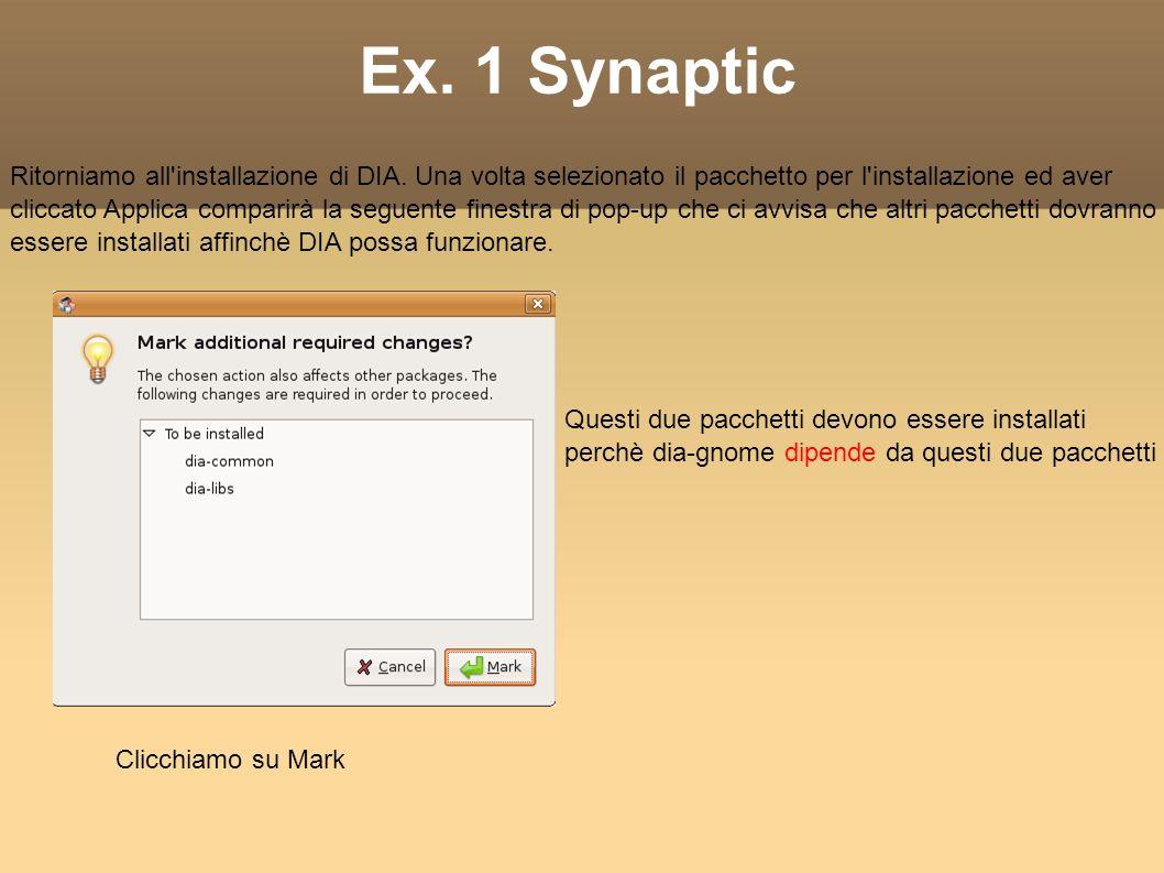 Ex. 1 Synaptic Ritorniamo all installazione di DIA.