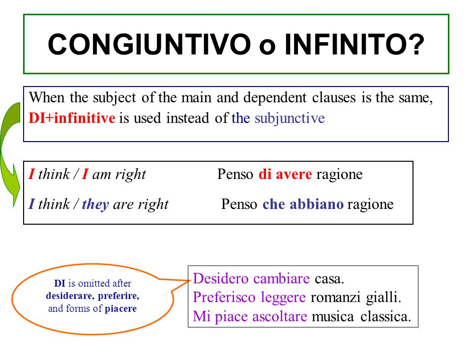 When the subject of the main and dependent clauses is the same, DI+infinitive is used instead of the subjunctive I think / I am right Penso di avere r