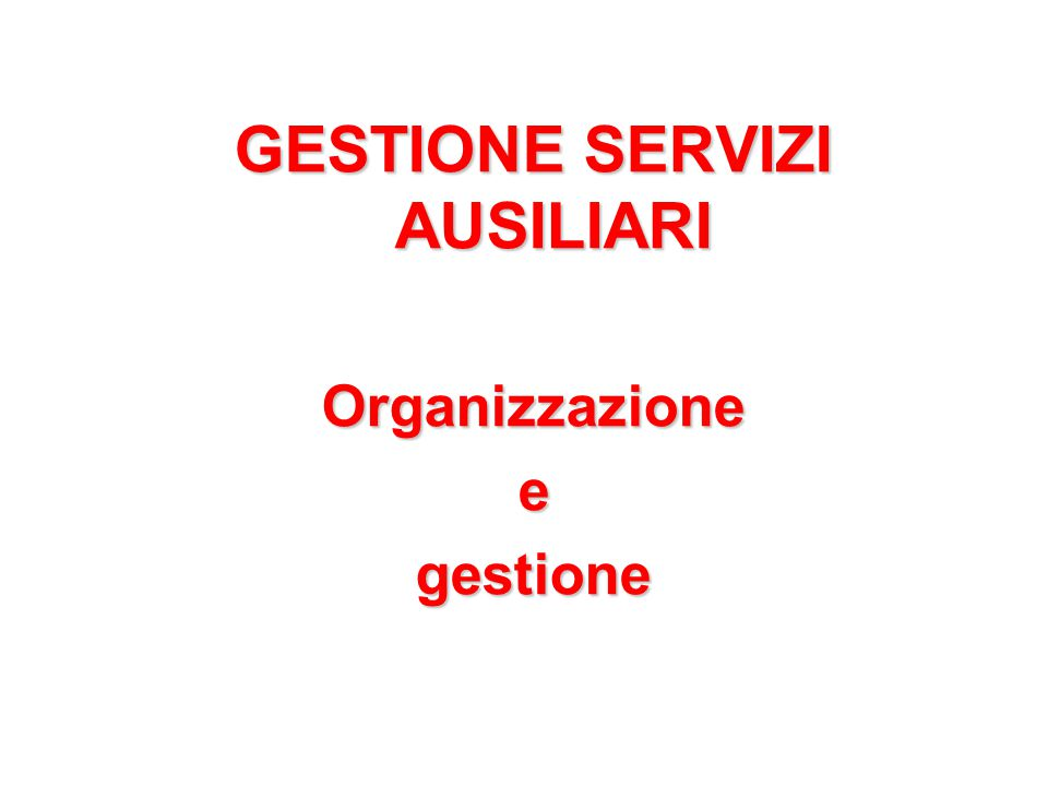 GESTIONE SERVIZI AUSILIARI Organizzazioneegestione
