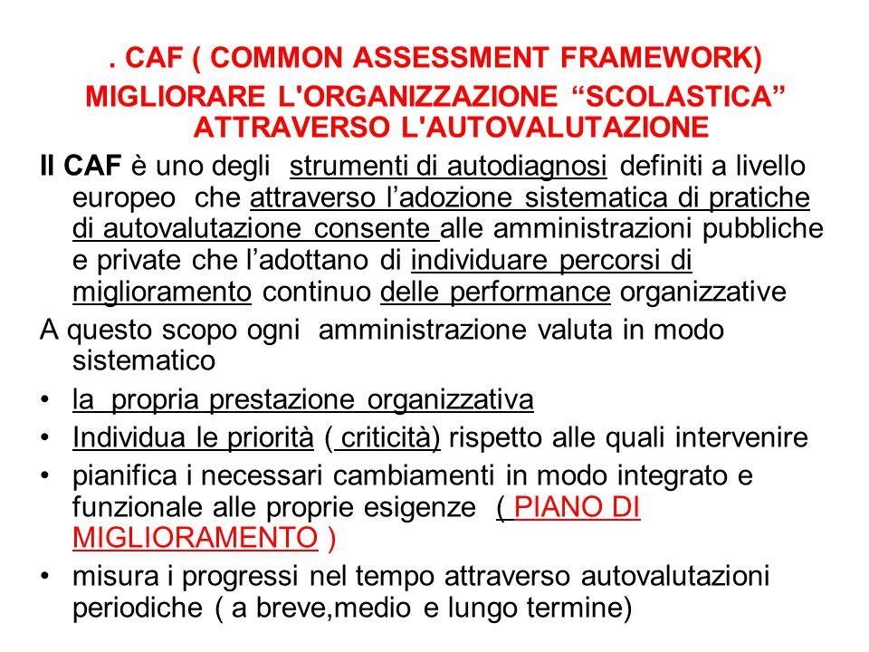 . CAF ( COMMON ASSESSMENT FRAMEWORK) MIGLIORARE L'ORGANIZZAZIONE SCOLASTICA ATTRAVERSO L'AUTOVALUTAZIONE Il CAF è uno degli strumenti di autodiagnosi