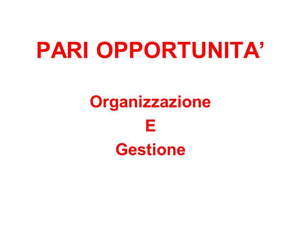 PARI OPPORTUNITA Organizzazione E Gestione