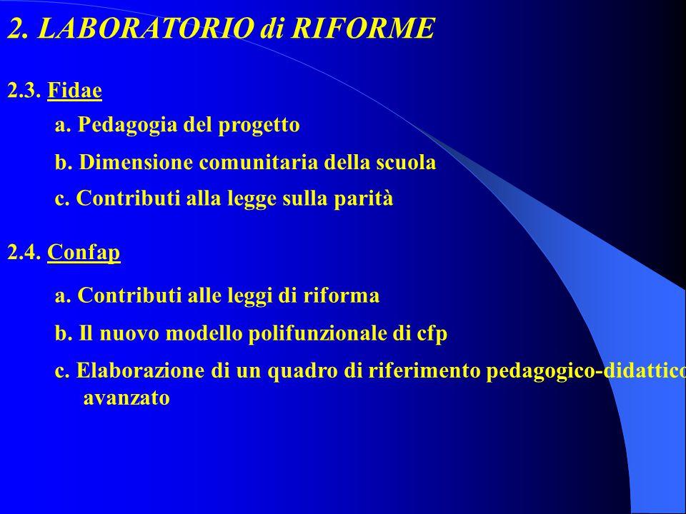 2. LABORATORIO di RIFORME 2.3. Fidae a. Pedagogia del progetto 2.4.