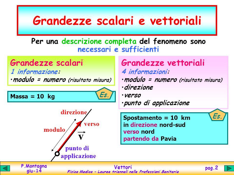 P.Montagna giu-14 Vettori Fisica Medica – Lauree triennali nelle Professioni Sanitarie pag.3 Vettori: componenti e modulo y x O vyvy v vxvx Un vettore è univocamente descritto nel piano 2dim dalle sue 2 componenti nello spazio 3dim dalle sue 3 componenti v x =  v cos( ) v y =  v sen( )  v  2 = v x 2 + v y 2 modulo =  v  2 [sen 2 ( ) + cos 2 ( )] =  v  2 1...