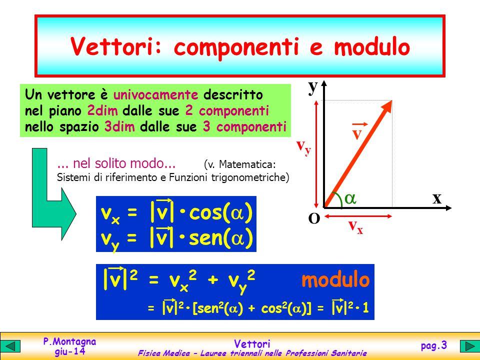 P.Montagna giu-14 Vettori Fisica Medica – Lauree triennali nelle Professioni Sanitarie pag.4 Somma di vettori y x O v 1y v1v1 v 1x v 2x v 2y v2v2 v 3x v 3y v3v3 v 3 = v 1 + v 2 Metodo grafico: diagonale del parallelogrammo costruito sui vettori di partenza Componenti: somma delle componenti dei vettori di partenza v 3x = v 1x + v 2x v 3y = v 1y + v 2y