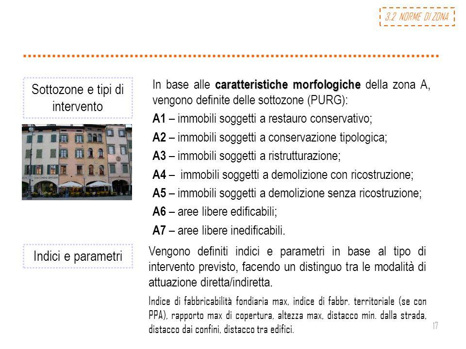 17 Sottozone e tipi di intervento caratteristiche morfologiche In base alle caratteristiche morfologiche della zona A, vengono definite delle sottozon