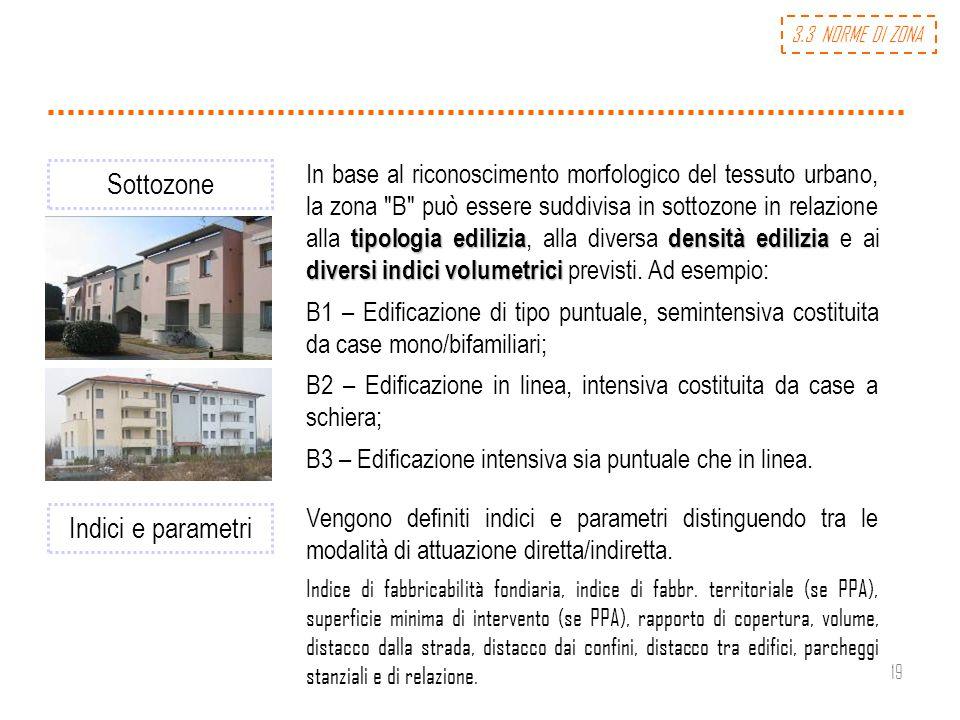 19 Sottozone tipologia ediliziadensità edilizia diversi indici volumetrici In base al riconoscimento morfologico del tessuto urbano, la zona
