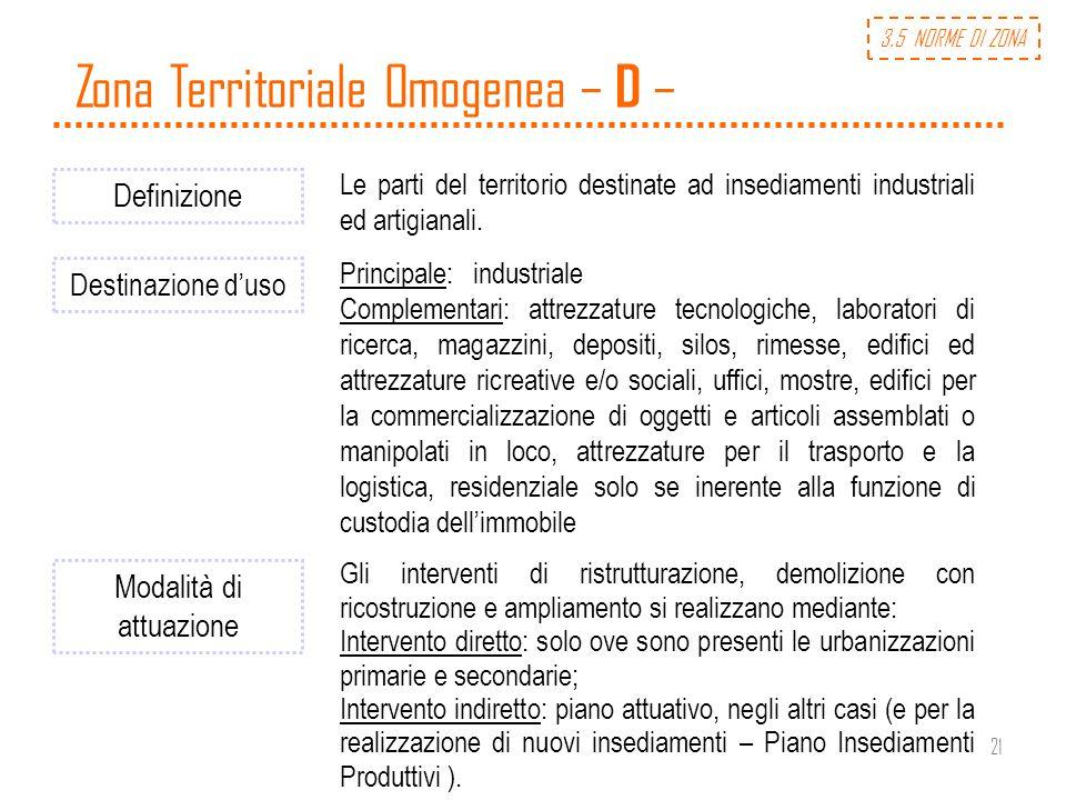 21 Zona Territoriale Omogenea – D – Definizione Le parti del territorio destinate ad insediamenti industriali ed artigianali. Destinazione duso Princi