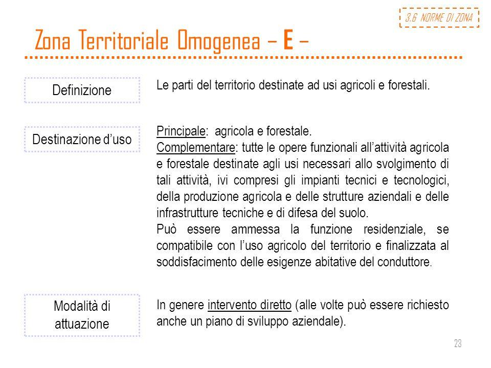 23 Zona Territoriale Omogenea – E – Definizione Le parti del territorio destinate ad usi agricoli e forestali. Destinazione duso Principale: agricola