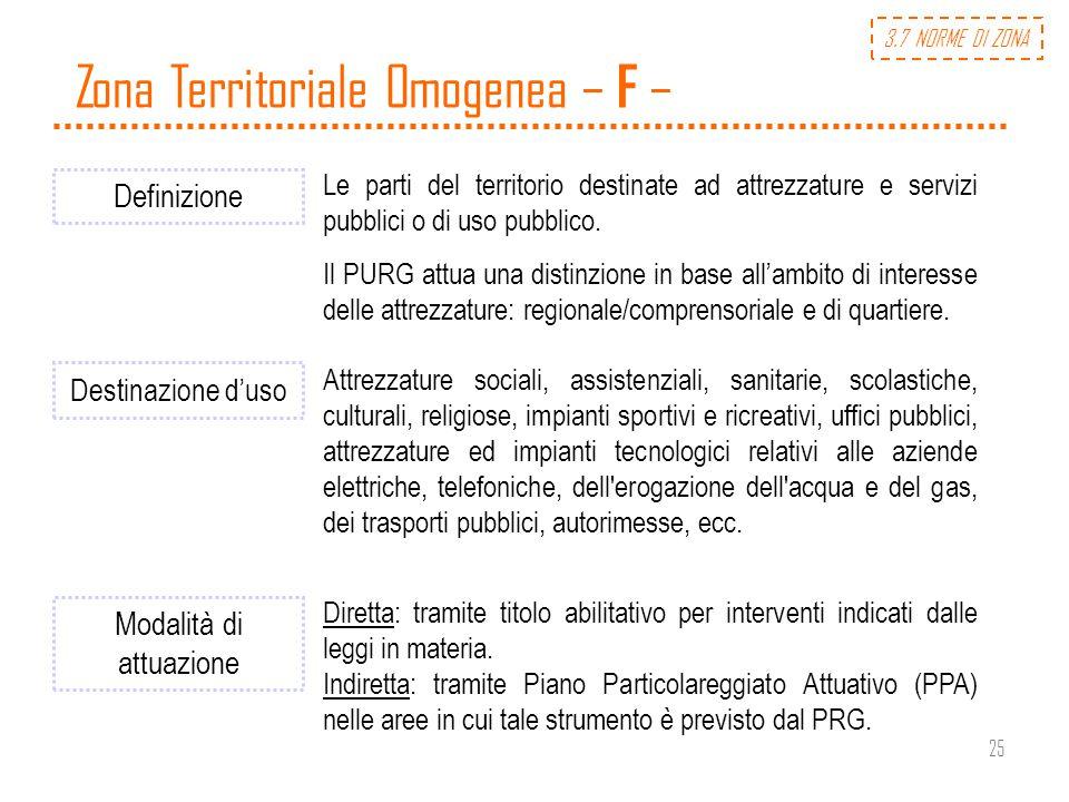 25 Zona Territoriale Omogenea – F – Definizione Le parti del territorio destinate ad attrezzature e servizi pubblici o di uso pubblico. Il PURG attua