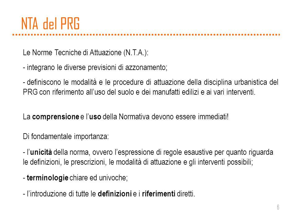6 NTA del PRG Le Norme Tecniche di Attuazione (N.T.A.): - integrano le diverse previsioni di azzonamento; - definiscono le modalità e le procedure di