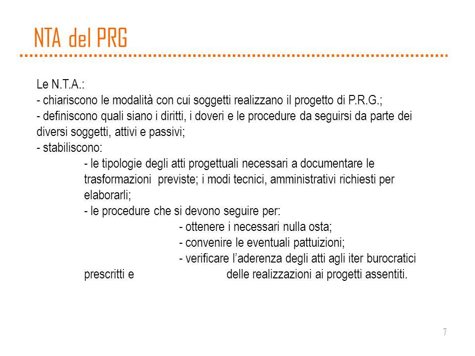 7 NTA del PRG Le N.T.A.: - chiariscono le modalità con cui soggetti realizzano il progetto di P.R.G.; - definiscono quali siano i diritti, i doveri e