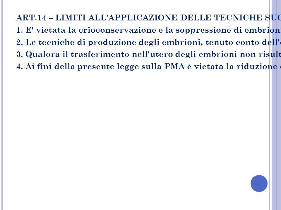 ART.14 – LIMITI ALL'APPLICAZIONE DELLE TECNICHE SUGLI EMBRIONI 1. E' vietata la crioconservazione e la soppressione di embrioni, fermo restando quanto