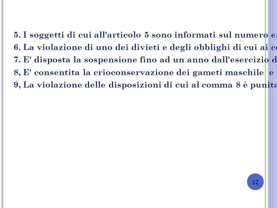 12 5. I soggetti di cui all'articolo 5 sono informati sul numero e, su loro richiesta, sullo stato di salute degli embrioni prodotti e da trasferire n