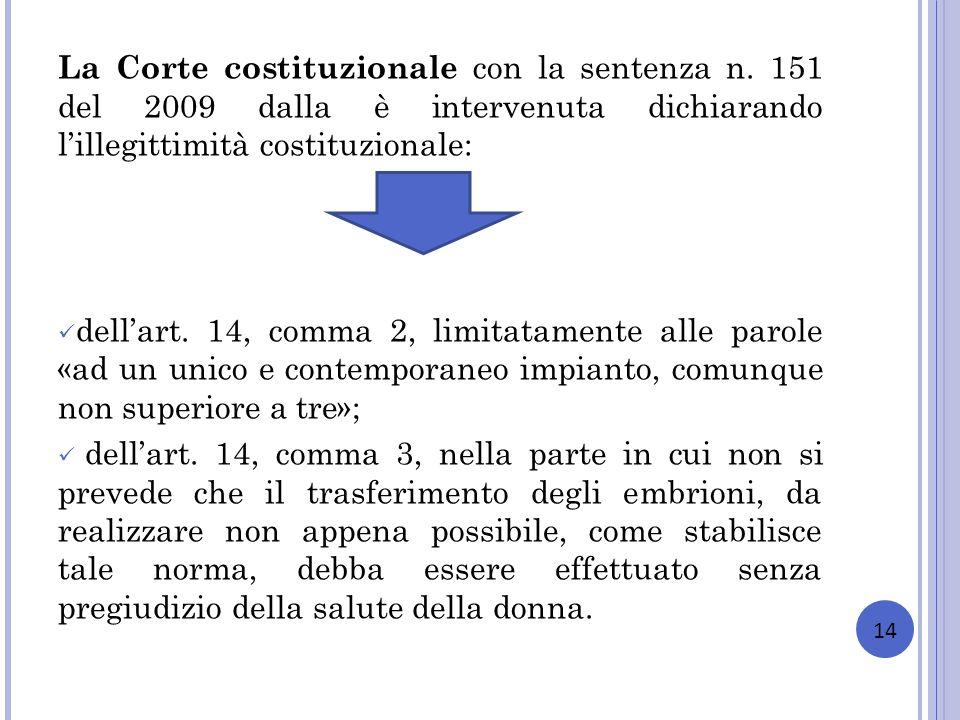 La Corte costituzionale con la sentenza n. 151 del 2009 dalla è intervenuta dichiarando lillegittimità costituzionale: dellart. 14, comma 2, limitatam