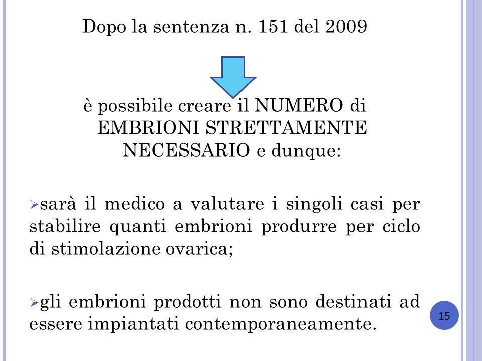 Dopo la sentenza n. 151 del 2009 è possibile creare il NUMERO di EMBRIONI STRETTAMENTE NECESSARIO e dunque: sarà il medico a valutare i singoli casi p