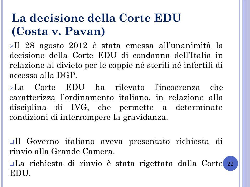 22 La decisione della Corte EDU (Costa v. Pavan) Il 28 agosto 2012 è stata emessa allunanimità la decisione della Corte EDU di condanna dellItalia in