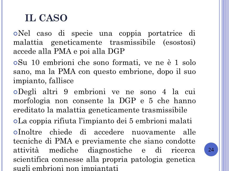 Nel caso di specie una coppia portatrice di malattia geneticamente trasmissibile (esostosi) accede alla PMA e poi alla DGP Su 10 embrioni che sono for