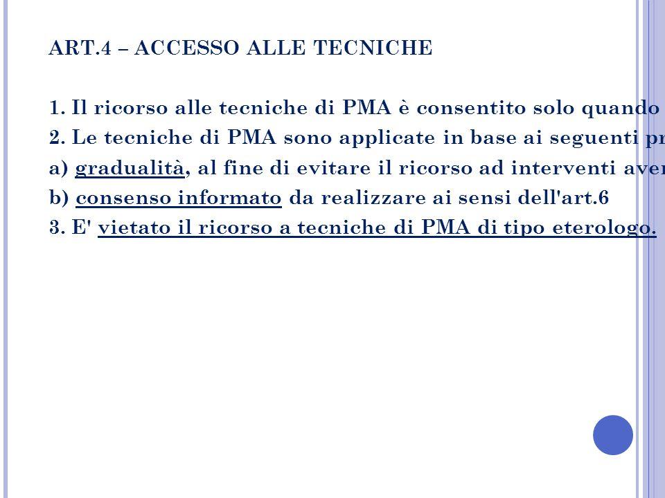 ART.4 – ACCESSO ALLE TECNICHE 1. Il ricorso alle tecniche di PMA è consentito solo quando sia accertata l'impossibilità di rimuovere altrimenti le cau