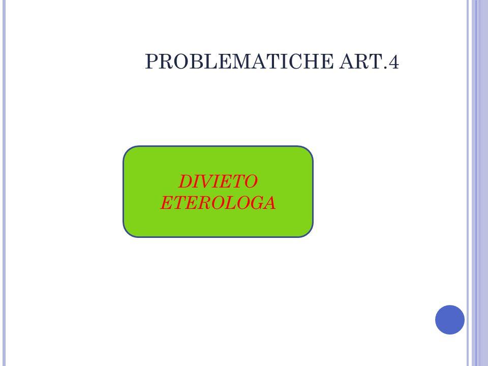 PROBLEMATICHE ART.4 DIVIETO ETEROLOGA